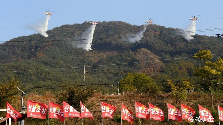 사진1_산림청 산불진화헬기, 편대비행 및 산불진화 시범.JPG