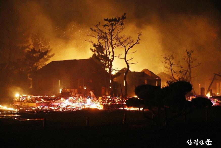 (전시사진)불에 타고있는 캠핑장(2019 동해).JPG