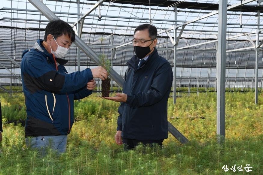 사진1_최병암 산림청 차장(오른쪽) 민유 양묘장 방문 묘목 생육상황 살펴 봄.JPG