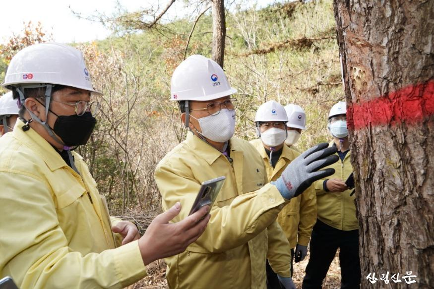사진1_박종호 산림청장(왼쪽 두번째)  소나무재선충병 방제 현장 점검.JPG