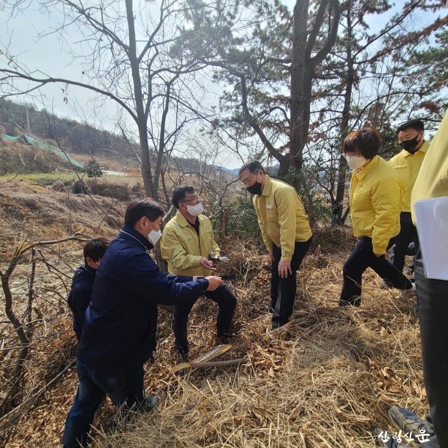 사진2_최병암 산림청 차장이 23일 전남 여수시 소 나무재선충병 방제사업장 현장점검을 하고있다..jpg