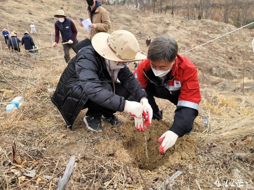 울산 청솔초등학교 학생과 함께 나무를 심 고 있는 조병철 남부지방산림청장님.jpg