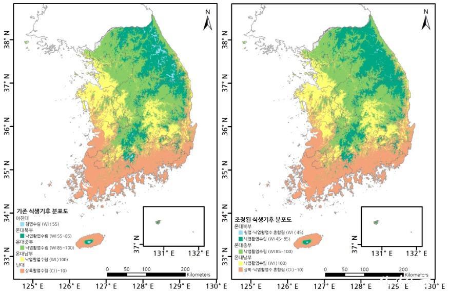 첨부3_새롭게 조정된 우리나라의 식생기후 분포도.jpg